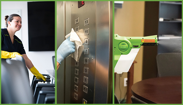 Cleaning Disinfecting Services of chair, elevator buttons, spraying office